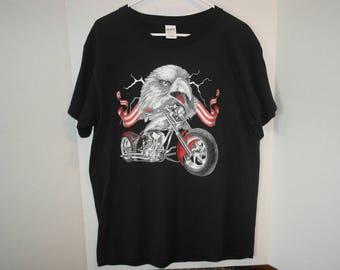 Patriotic Eagle Biker, American Flag, T-shirt