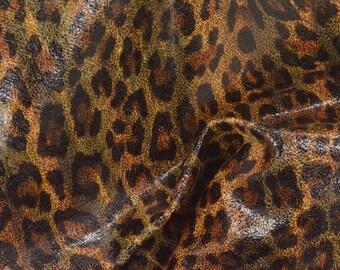 "Fashion Multi-Color Leopard Leather Pig Hide 12"" x 12"" Project Piece 1 oz TA-56822 (Sec. 5,Shelf 2,B)"
