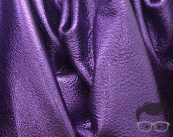 "Purple Reign Metallic ""Vegas"" 18 Square Foot 3 oz Leather Cowhide Side grainy BR-63741 (Sec. 9,Shelf 1,A)"