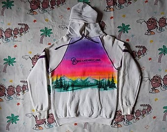 Vintage 80's Breckenridge colorful air brushed pullover Hooded Sweatshirt, size Small 1987 Mountain Scene souvenir