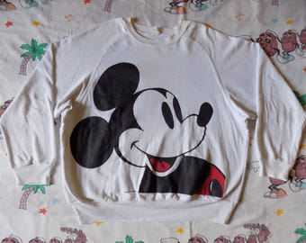 Vintage 80's Mickey Mouse double sided Full Print Pullover Sweatshirt, size M/L Disney