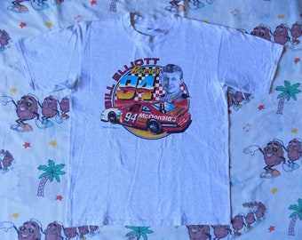 Vintage 90's Bill Elliot NASCAR T shirt, size Large 1996 McDonalds Reeses promo Advertisement