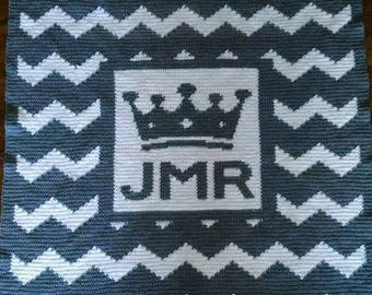 handmade crochet Personalized inital with crown