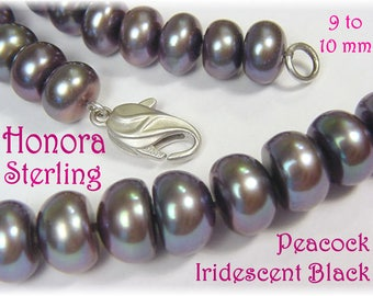 """Honora Sterling Silver - Iridescent Tahitian Black 9 to 10 mm Pearl 18"""" Necklace - Ming Private Reserve - Mystic Color Change  FREE SHIPPING"""