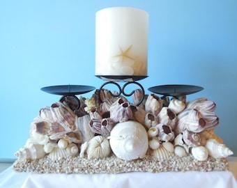 SeaShell Barnacle Candle Holder- Candle Holder-Shell Candle Holder-Beach Candle Holder-Beach Candle-Seashells