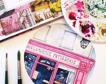"ORIGINAL Watercolor • ""Pink Patisserie"" French bakery pastries cafe"
