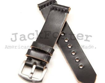 Standard Apple Watch Strap with Black Horween Shell Cordovan Leather