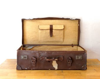 Huge Antique Suitcase, Old Leather Luggage, Train Case, Valise, Antique Leather Luggage, Suitcase Table, Travel Trunk, Luggage Bag, Trunk