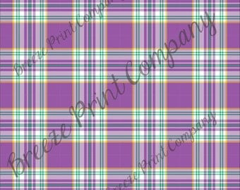 Craft pattern HTV purple, yellow, green and white plaid craft vinyl printed sheet - HTV or Adhesive Vinyl -  Mardi Gras HTV3413