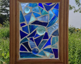 Blue Stained Glass  Suncatcher Abstract Blue Stained Glass Mosaic Suncatcher Blue home decor window hanging Blue Glass Sun Catcher