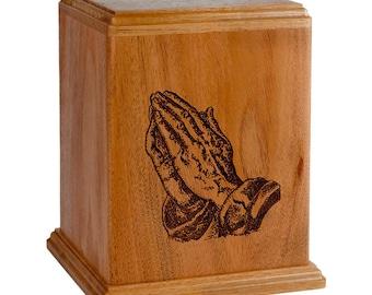 Mahogany Praying Hands Wood Cremation Urn