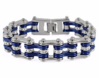 SK1200 Men's Stainless Steel Silver Bike Chain Bracelet USA Seller!