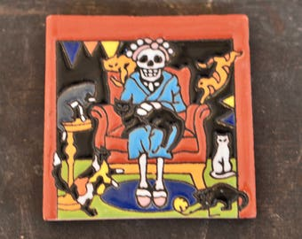 Talavera Mexican Tile- Day of the Dead / Catrina with cat