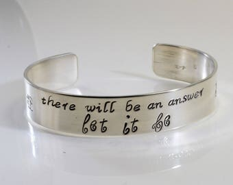 Beatles song lyric bracelet - There will be an answer let it be