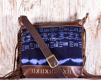 Brown Leather Cross Body Bag - Brown Leather Festival Bag - Brown Leather Shoulder Bag - Festival Fringe Bag