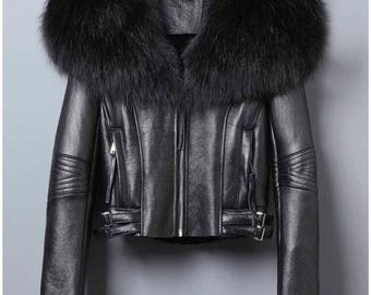 Real Leather Jacket with Fox Fur Collar