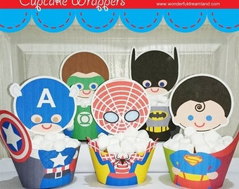 50% OFF Superhero Cupcake Wrappers - PDF Instant Download Printable Digital File