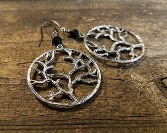Tree of Life Earrings, Boho Earrings, Silver Earrings