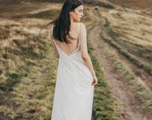 Simple tulle bridal gown, open back ivory lace and silk wedding dress, slip wedding dress // Mallow