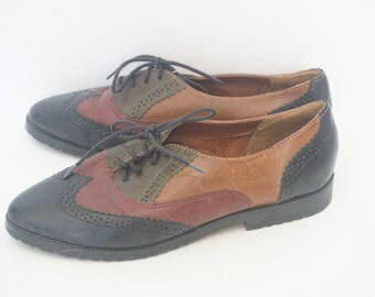 Vintage 90's Precis Multicolor Oxford Wingtip Loafers- Womens Size 8.5 B