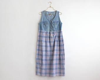 90's Sleeveless Denim Dress, Vintage Plaid Skirt Denim Dress, School Girl Midi Dress Size M medium