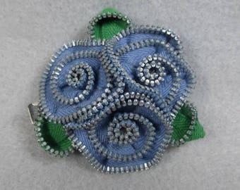 Blue Rose Brooch, Zipper Brooch, Blue Brooch, Blue Pin, Zipper Pin, Zipper Art, , Flower Pin, Upcycled, Recycled, Repurposed, Flower brooch
