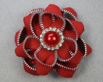 Red Flower Brooch, Zipper Brooch, Red Brooch, Red Pin, Zipper Pin, Zipper Art, Flower Pin, Upcycled, Recycled, Repurposed
