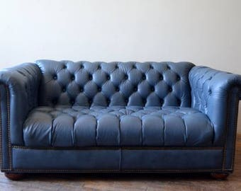Chesterfield Slate Blue Tufted Button Loveseat Sofa