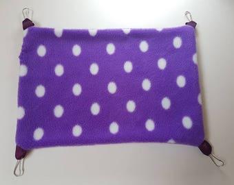 Purple/Red/Pink fleece hammock for small animals.