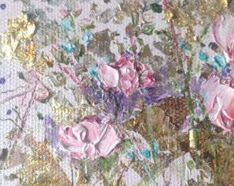 Small Pink Floral painting Impasto - Original Oil painting by Shirley Thompson