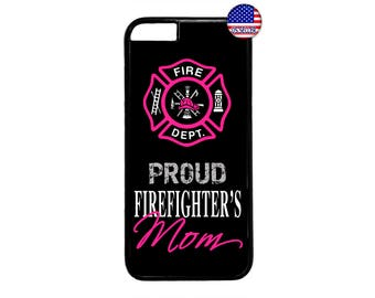 Firefighter Fireman Proud Mom Pink Hard Rubber TPU Case Cover for iPhone 4 4s 5 5s SE 5C 6 6s 6 Plus 7 7 Plus iPod Touch 4 5 6