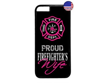 Firefighter Fireman Proud Wife Pink Hard Rubber TPU Case Cover for iPhone 4 4s 5 5s SE 5C 6 6s 6 Plus 7 7 Plus iPod Touch 4 5 6