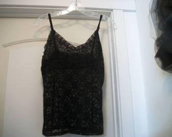 Retro 90s Does Pretty Pretty Past BLACK LACE Mildly Stretchy CAMISOLE, M