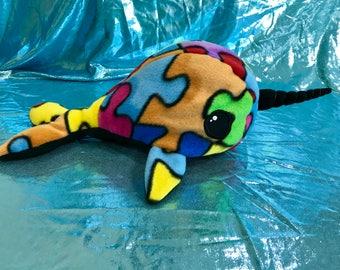 Narwhal plushie Kawaii stuffed animal puzzle pieces fleece plush narwhal