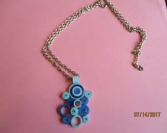 paper pendant, quilled pendant, quilled circles,blue circles,silver chain, casual jewelry