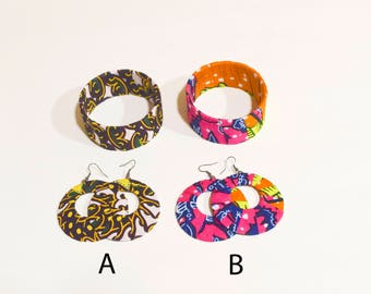 African Prints Ankara Set of Hoops Earrings and Bangle