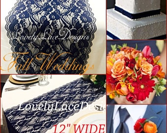 New NAVY BLUE Lace/Table Runner/3ft-11ft long x12in wide/Wedding Decor/Table Decor/NAVY/Wedding Centerpiece/Ends Cut not sewn/Free Runner