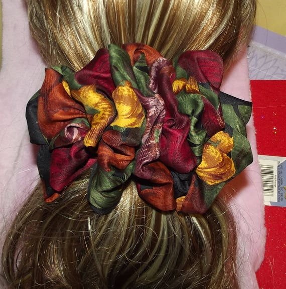 Becky Bows ~OOAK ROSETTE Barrette Hand crafted giant huge Scarf BIG hair bow Women or Girls autumn leaf