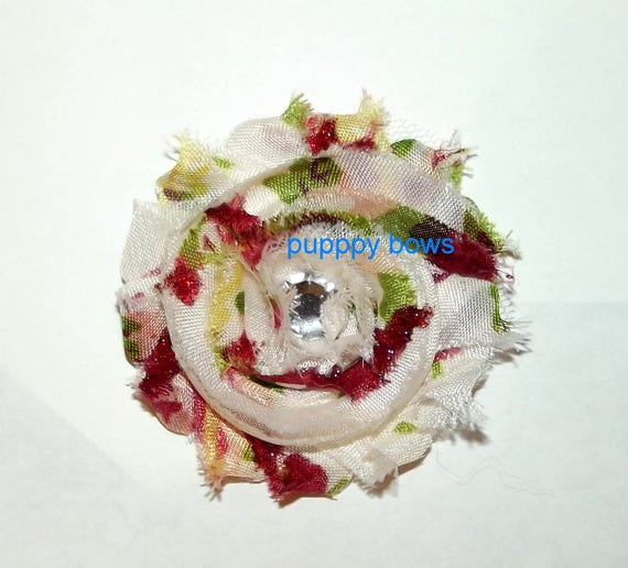 Puppy Dog Bows ~ Shabby chic lace  flowers RED white ROSE pet hair bow barrettes or bands (fb60)