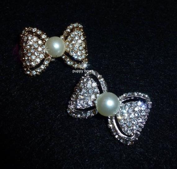 Puppy Bows ~Silver or Gold pearl  rhinestone pet hair clip barrette BOWTIE shape~USA seller