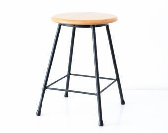 Vintage industrial stool, metal stool, industrial design, studio Mid-Century stool, four legged stool, 60s black metal stool, wooden stool