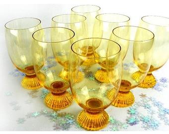 8 Vintage Amber Yellow Flute Pedestal Drinking Glasses
