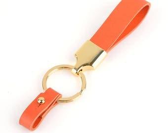 Richbud Vegetable Italian Leather Valet Car Keychain Orange