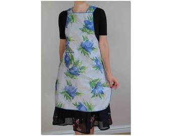 1950s cotton apron floral apron vintage apron cotton pinny 50s apron pinny vintage housecoat floral print apron 50s vintage pinafore 1950s