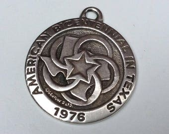 Antique Sterling Silver Fob Medal - American Bicentennial in Texas 1976