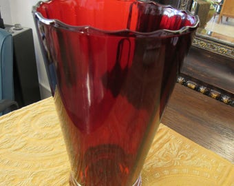 Anchor Hocking Large Red and Clear Glass Vase