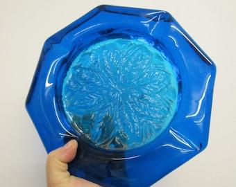 Vintage Heavy Blue Glass Ashtray