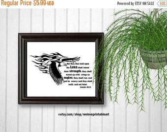 ON SALE Isaiah 40:31, Eagle Bible Verse for Him, Christian Gift for Him, Scripture Sign, Printable Wall Art, Bible Verse Print, INSTANT Down