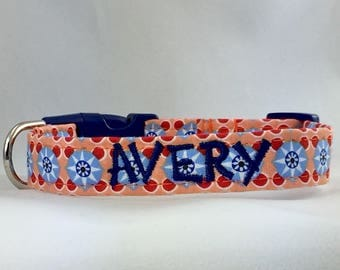 Dog Collar Personalized- Valencia Blue Tile