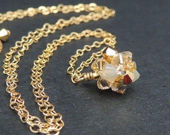 Dainty Gold Pendant Necklace, Boho Bridal Necklace, Layering Necklace, Crystal Necklace, Gold Necklace, Dainty Necklace